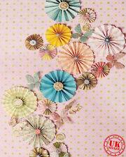 Ventola di Carta Rosa Blu Dotty Sfondo Fondale Vinile Foto di scena 5x7ft 150x220cm