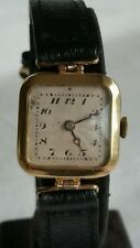 Ladies 9ct Gold Trench Style Swiss Watch, Imported into Glasgow in 1927 by SD.
