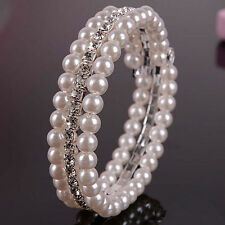 Charm Wedding Jewelry 2 Row Faux Pearl Beads Rhinestone Bangle Bracelet