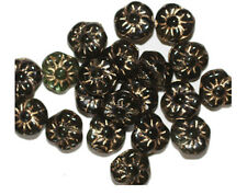 Black Gold Flower Czech Pressed Glass Beads 10mm (pack of 20)