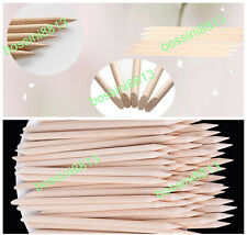 100pc Nails Art Orange Wood Stick Cuticle Pusher Remover Pedicure Manicure Tools