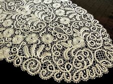ELABORATE & STRIKING Antique Handmade Bobbin Lace Oval Table Runner 20x50 Ecru