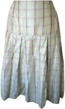 Krista Larson Aloe Plaid Silk Taffeta Box Pleat Skirt NWT