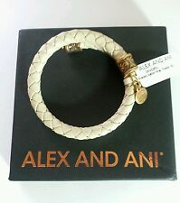 Alex and Ani Leather Wrap, Powder NWT Vintage 66 Bangle Bracelet BOX Rare Gold
