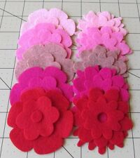25 Pinks Felt wool Blend Die Cut Applique Flowers - 5 Colors