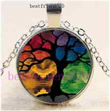 Tree of Life Photo Cabochon Glass Silver Chain Pendant Necklace#D10