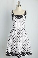 "New ModCloth Black & White Polka Dot Pin Up ""Smile So Sweet"" Dress, Large"