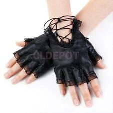 Black Women Ladies Lace Trim Sheepskin Leather Fingerless Half Gloves Size M