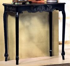 "CLASSIC HEIRLOOM LOOK** ELEGANT DISTRESSED BLACK 30.8"" SCALLOPED HALL TABLE**NIB"