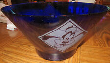 LARGE COBALT BLUE GLASS BOWL WITH DISNEY CHARACTERS ETCHED INTO SIDES