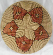 "Large Arizona Coiled Basketry Tray, 16"" Floral / Star Pattern Hand-Woven Basket"