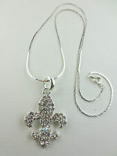 Silver Plated Crystal/Crystal AB Pave Rhinestone Fleur De Lis Pendant Necklace