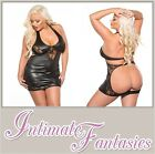 Lace & Wet Look Backless Dress Sexy Spanking Black Dress Plus Xl Size 16 18 20