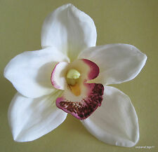 "Full 4.5"" Cream White Orchid Poly Silk Flower Hair Clip,PinUp,Updo,Rockabilly"