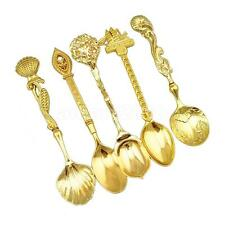 5Pcs Small Desert Coffee Set Bar Kitchen Tea Spoon Royal Style-Gold