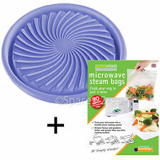 UNIVERSAL Non Stick Defrost Meat Cooking Microwave Oven Plate Mat + Steam Bags