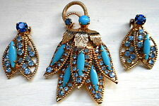 Signed Vintage Weiss Aqua Blue Rhinestone Brooch Pin Matching Clip Earrings