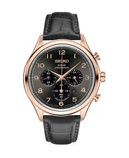 New Seiko SSC566 Solar Chronograph Rose Gold Tone Black Leather Strap Mens Watch