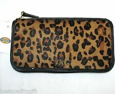 NEW FOSSIL MEMOIR LEOPARD PRINT CALF FUR+BLACK LEATHER BI-FOLD WALLET,CLUTCH