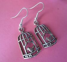 Pretty Vintage Look Silver Plated Bird in a Cage Charm Earrings New Kitsch