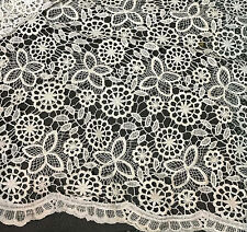 """Ivory & Metallic Gold Groovy 60's Floral LACE Fabric 9""""x22"""" remnant"""