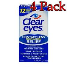 Clear Eyes Contact Lens Multi-Action Relief Drops, 0.5oz, 4 Pack 678112653218A27