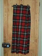 Vintage Edinburgh Textile Co Red Tartan Wool Blend Kilt Skirt - Size 10