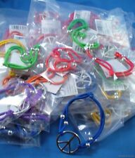 WHOLESALE LOT OF 144 PEACE SIGN BRACELETS jewelry stretch beaded silver hippie