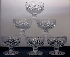 6 COUPE cristal lourd Dessert Crème Glacée Sundae Footed bols plats Waterford?
