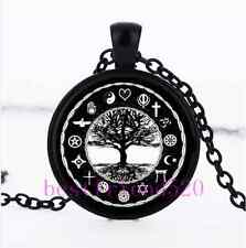 World Religions Peace Tree Of Life Cabochon Glass Black Pendant Necklace