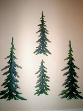 4 pc Evergreen Pine Tree Metal Wall Art Rustic Timberline Forest Lodge Decor