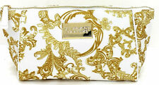 VERSACE WOMEN MAKE-UP POUCH /COSMETIC TOILETRY BAG GOLD & WHITE. FOR TRAVEL *NEW