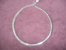 "Sterling Silver Necklace-17"" Made in Italy -Omega Chain-New w/ tags in box-$380"