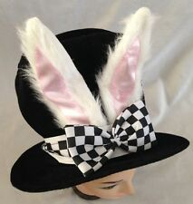 "Black 9"" Costume Top Hat With White Bunny Ears & Bow - One Size Fits Most"