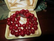 Beautiful 10mm knotted raw garnet stone necklace