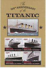 Bequia St Vincent - Ships, Boats, Titanic, 2013 - Sheetlet of 4 MNH