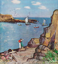 MAINE Sea Coast Man & Woman SAILBOATS in Bay Vintage 1949 MATTED Picture Poem