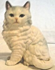 Ceramic Cat Figurine,Long Hair White With A Little Grey #A670 Blue Eyes