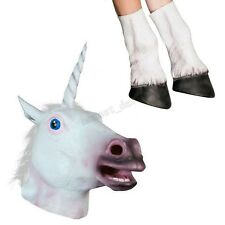 Cosplay Unicorn Head Mask Halloween Dress Party Costume Prop Toy + Hooves Glove