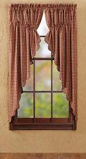"""Burgundy Check Prairie Curtain, 63""""L"""