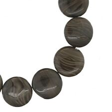 12 Fossil Wood Agate / Petrified Wood Flat Round Coin Beads 15mm #54116