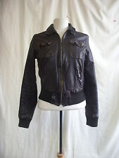 Ladies Coat - H&M L.O.G.G, size S, brown 100% leather, short, bomber, used 7656