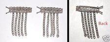 Vintage Silver Tone Metal Chain Hair Barrette Odd Pair