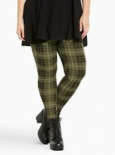 NWT * TORRID Olive Green and Black Plaid Full Length Leggings * Size 1 or 1x