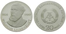 Rare 1976 DDR(East Germany)Proof Silver 20 Marks -Liebknecht -mintage 4000