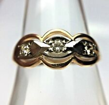 Vintage Russian 14K Yellow White Gold 3-stone Diamond Wedding Band Ring