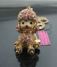 H637F   Betsey Johnson Crystal Golden Puppy Dog Poodle Charm Pendant Necklace