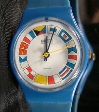 Women's SWATCH 12 Flags Blue White Retro Watch 1984 LS101 Working Vintage