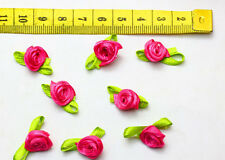 New  50pcs Satin ribbon flowers for sewing Craft Supplies rose colour