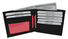 MENS WALLET SLIM BLACK HOLDS 7 CREDIT CARDS AND 1 ID WINDOW NEW BLACK